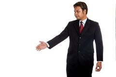 Asian businessman greeting with  hand shake Royalty Free Stock Images