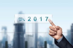 Asian businessman hand touched 2017 Royalty Free Stock Photos