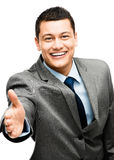 Asian businessman handshake happy Royalty Free Stock Image