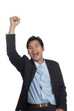 Asian businessman happy do fist pump Royalty Free Stock Photo