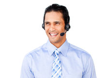 Asian businessman with headset on Stock Photos