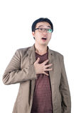 Asian businessman heartache, pressing on chest, heart attack, is Royalty Free Stock Image