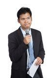 Asian businessman hesitate to speak with paper Stock Photo