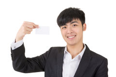 Asian businessman hold a blank business card Stock Photography
