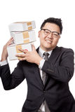 Asian businessman hold 3 box on his shoulder and smile Stock Photography