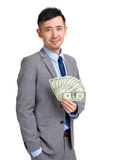 Asian businessman hold with cash Royalty Free Stock Photo