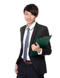 Asian Businessman hold with clipboard Stock Images