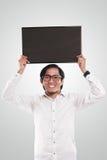 Asian Businessman Holding Blackboard royalty free stock photo