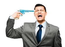 Asian businessman holding gun to head Royalty Free Stock Images