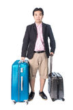 Asian businessman holding smart travel bag Royalty Free Stock Images