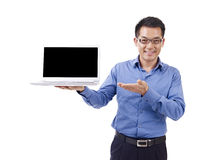 Asian businessman and laptop Stock Image