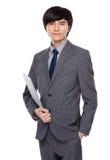 Asian businessman with laptop Royalty Free Stock Photos