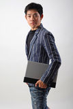 Asian businessman with laptop Royalty Free Stock Photo