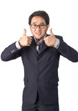 Asian businessman making thumbs up with a Smiling, Isolated on w Stock Images
