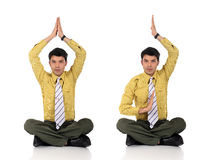 Asian Businessman meditating yoga Stock Photos