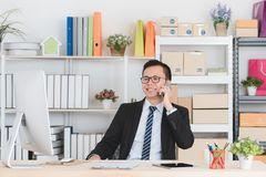 Asian businessman at office royalty free stock photos