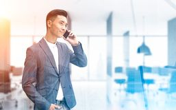 Asian businessman on phone in an office Stock Photos