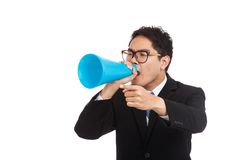 Asian businessman point and shout with megaphone. Isolated on white background Stock Images