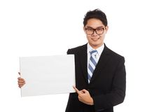 Asian businessman  point to  blank sign and smile Stock Photos