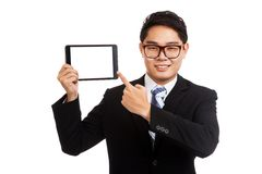 Asian businessman point to  tablet pc Royalty Free Stock Photography
