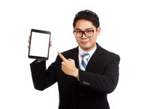 Asian businessman point to tablet pc Stock Images