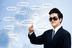 Asian businessman pointed the diagram Stock Images