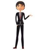Asian Businessman presents something vector cartoon. Eps 10 royalty free illustration