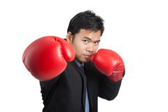 Asian businessman punch with red  boxing glove Royalty Free Stock Photography