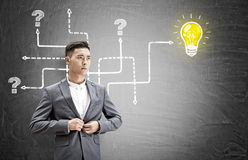 Asian businessman, questions and light bulb Royalty Free Stock Images