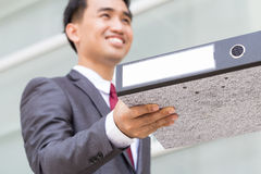 Asian businessman received documents Royalty Free Stock Image
