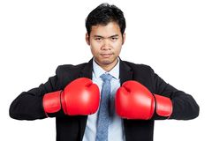 Asian businessman with red  boxing glove Stock Photography
