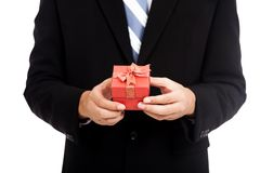 Asian businessman with red gift box Stock Photos