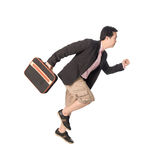 Asian businessman running with a briefcase in hand, isolated on Stock Photography