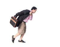 Asian businessman running with a briefcase in hand, isolated on Royalty Free Stock Photography
