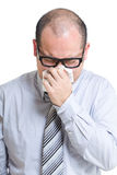 Asian businessman runny nose Stock Photo