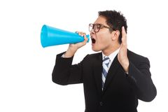 Asian businessman shout with megaphone. Isolated on white background Stock Image