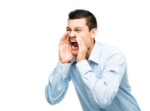 Asian businessman shouting angry isolated white background Royalty Free Stock Images