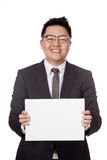 Asian businessman show blank sign with 2 hands Stock Photo