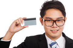 Asian businessman show a credit card Royalty Free Stock Image