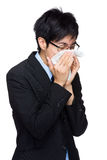 Asian businessman sick Stock Image