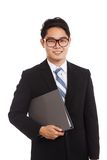 Asian businessman smile hold folder Stock Photos