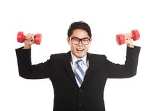 Asian businessman smile with red dumbbells Stock Photos