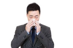 Asian businessman sneeze Royalty Free Stock Image