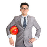 Asian businessman with soccer ball Stock Photo