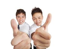 Asian businessman with thumbs up Royalty Free Stock Photos
