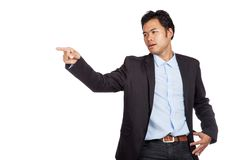 Asian businessman unhappy  point to something Stock Images