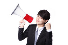 Asian businessman using bullhorn Stock Images