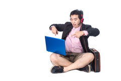 Asian businessman using laptop, isolated on white background Stock Image