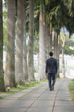 Asian Businessman walking along the street. Royalty Free Stock Photo