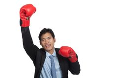 Asian businessman win fight fist pump for success Royalty Free Stock Image